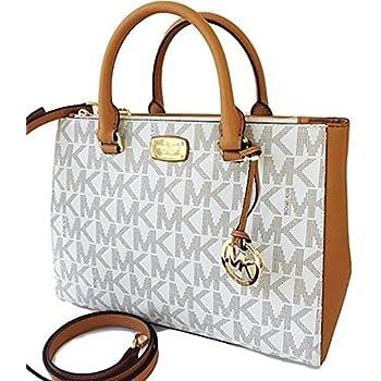 d498fb36523a12 Amazon.com: Michael Kors Kellen Medium Satchel Crossbody Bag Vanilla ...