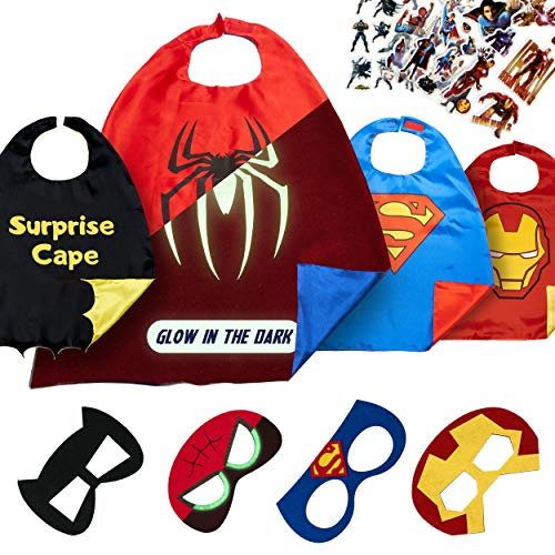 Super Hero Capes for Kids Toys – Dress Up Clothes for Boys – Superhero Party Supplies Birthday – 4 Kids Costumes with Glow in The Dark Spiderman Logo ()