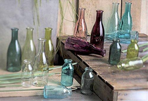 """3 Flaschen Vasen 18,5 x 6,5 cm Petrol GRÜN 1165-18-51 GLAS VASE  /""""BOTTLE groß/"""""""