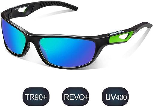Herren Damen Sport Sonnenbrille Kunststoff Rahmen Blau Verspiegelt 100/% UV 400