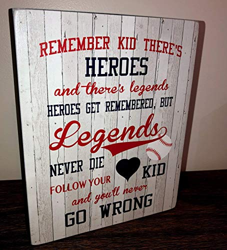 Baseball Kids Room Sports Room Sandlot Quote Remember Kid There's Heroes and there's Legends boys room sign