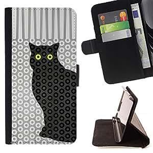 Momo Phone Case / Flip Funda de Cuero Case Cover - Gato del lunar Trippy Eyes Pattern - LG G4 Stylus H540