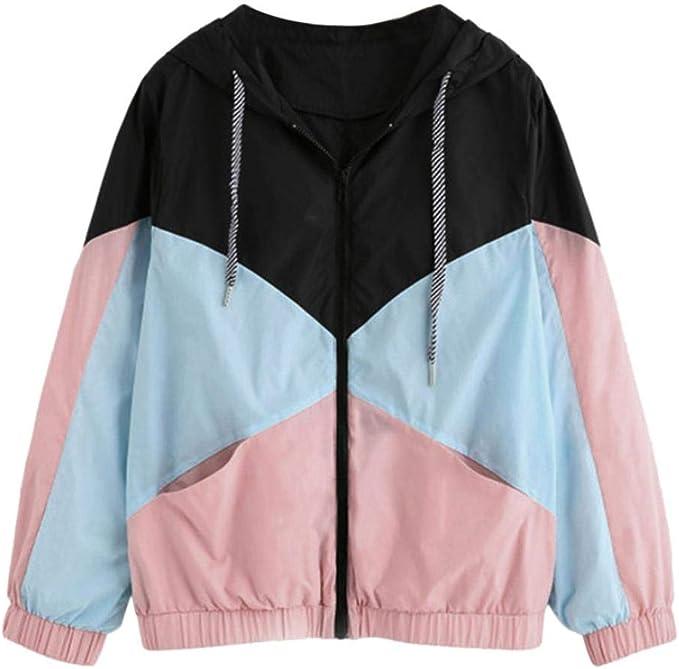 Longra Damen Regenjacke Windbreaker Übergangsjacke Steppjackemit Kapuze und Color Block Optik Leichte Damenjacke Streetwear Schlupfjacke Kapuzenjacke