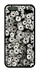 Black And White Daisy Flower Theme Iphone 5 5S Case pc hard Material