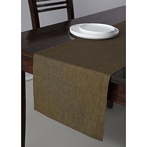 Solino Home 100% Pure Linen Table Runner Tesoro, 14 x 90 Inch Raw Umber, Natural Fabric and Handcrafted (Raw Linen)