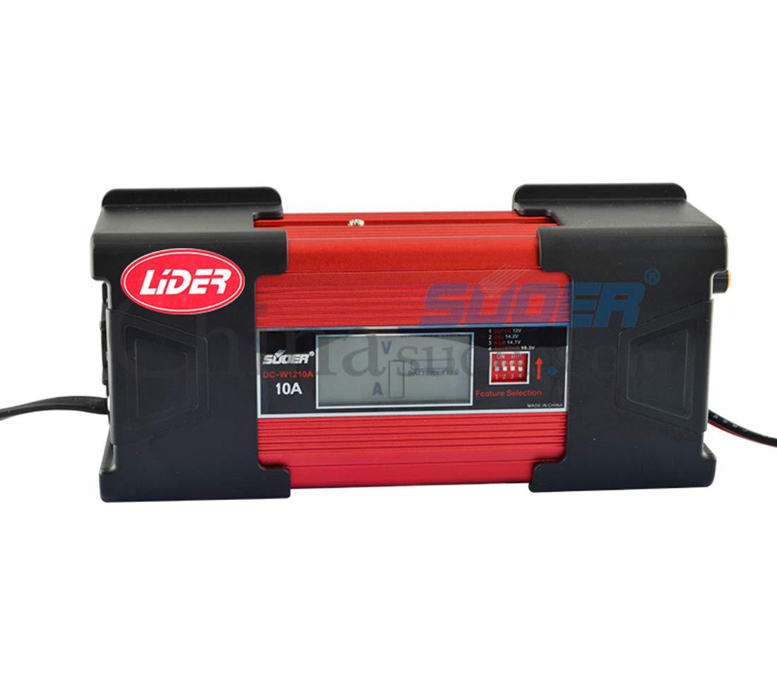 LIDER-Cargador de Bateria Coche 10A 12V Super Nuevo Diseño Mantinimiento Automatico Electrico Controlado por Micro Procesador Inteligente con Pantalla ...