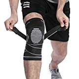 BERTER Knee Brace for Men Women - Compression Sleeve Non-Slip for Running, Hiking, Soccer, Basketball for Meniscus Tear Arthritis ACL Single Wrap (Update Compression Straps Version, Small)