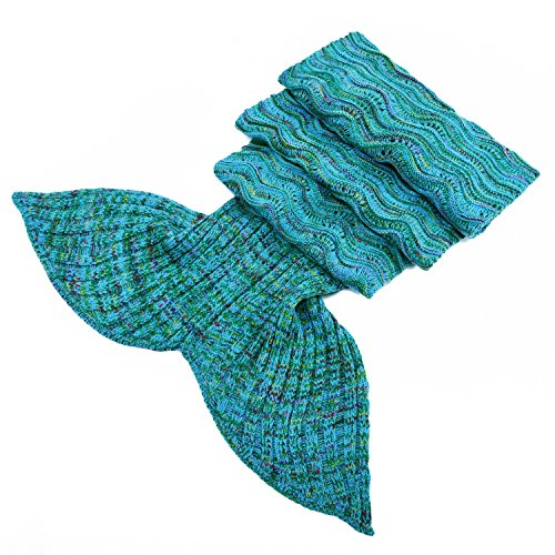 LAGHCAT Mermaid Tail Blanket Knit Crochet Mermaid Blanket for Adult, Oversized Sleeping Blanket, Wave Pattern (Green and Blue, 75x35.5)