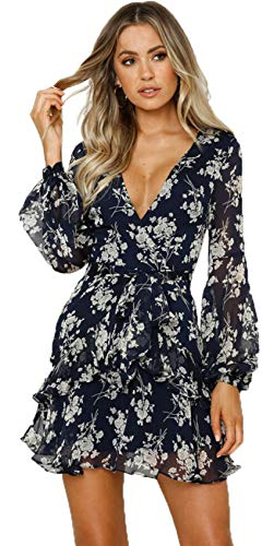 Long Sleeve Bishop Sleeve Deep V Neck Cross Wrap Front Tie Front Floral Pleated Mini A-Line Dress Blue White S (Cross Front Mini Dress)