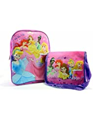 Disney Princess Girls Pink Backpack with Messenger Lunch Bag