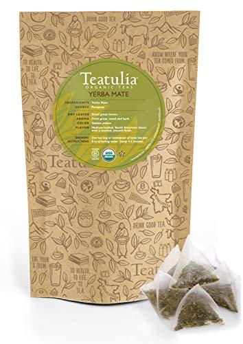 Teatulia Organic Yerba Mate Herbal Tea 50ct Premium Pyramid Tea Bags - Brew Hot or Cold Compostable Corn-Silk Bags
