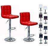 Liberty Swivel RED Leathertt Adjustable Hydraulic Bar Stool, Set of 2