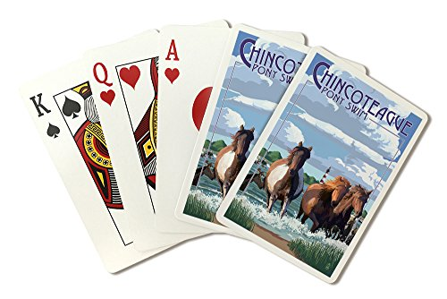 (Chincoteague, Virginia - Pony Swim (Playing Card Deck - 52 Card Poker Size with Jokers))