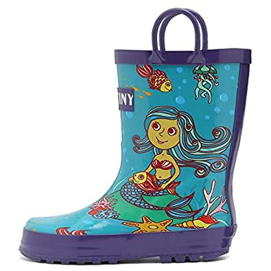 Fantiny Girls Rain Boots Durable Rubber Waterproof Shoes with Easy on Handles for Kid Toddler Boys,VHYX01,Y.Blue,22