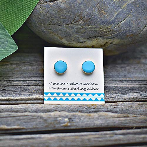 5mm Genuine Sleeping Beauty Turquoise Stud Earrings in 925 Sterling Silver, Authentic Navajo Native American, Handmade in the USA, Nickle Free