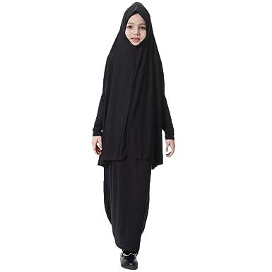 Zhuhaitf Kids Girl Elastic Loose Hijab Dress Set Two Piece Muslim Full Length Robe
