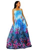 MayriDress Maxi Dress Women Plus Size Tall Full Length Hawaiian Summer Cocktail Extra Long Sexy Blue Floral