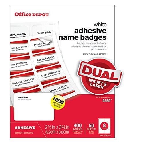 Office Depot Name Badges, White, Pack Of 400, OD98844