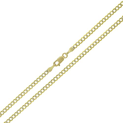 Round Curb Link Women Men 10K Solid Yellow Gold Cuban Necklace Chain 2mm 16-24/""
