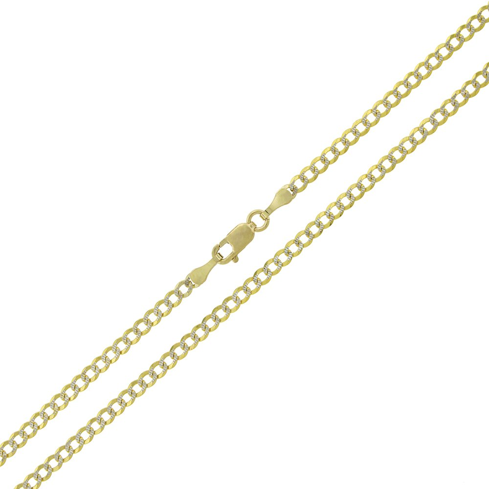14k Yellow Gold 2.5mm Solid Cuban Curb Link Diamond Cut Two-Tone Pave Necklace Chain 16'' - 24'' (18)