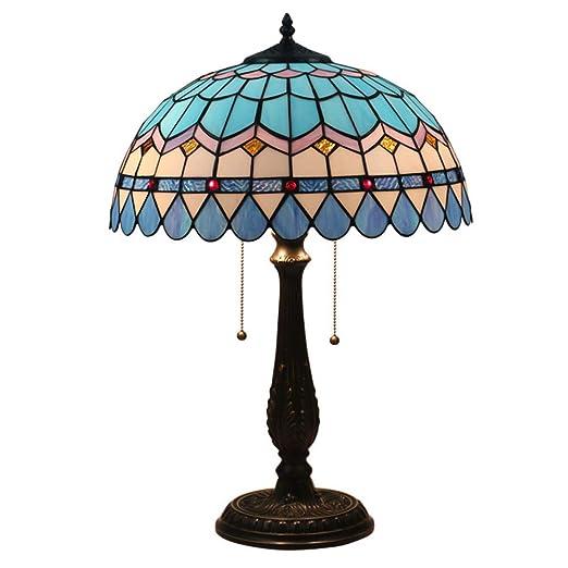 PElight Lámpara de Mesa de Estilo Tiffany, luz de Noche de Cristal ...