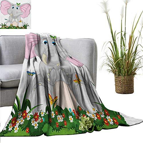 BelleAckerman Weighted Blanket Adult Elephant Nursery,Friendly Elephant Cartoon in Garden Daisies Butterflies with Huge Ears,Multicolor Soft Fuzzy Cozy Lightweight Blankets -