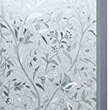 Bloss Privacy Window Film Glass Film Window Cling Film Frosted Window Films Stained Glass Non-Adhesive Window Films Anti UV Heat Control Home Bedroom Kitchen, 17.7 by 78.7 inches