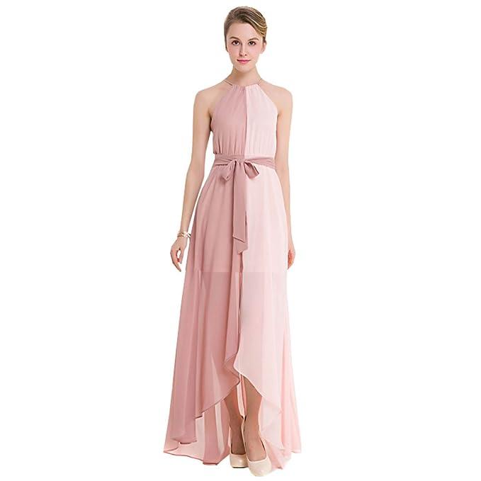 ee002f9ab19f LSERVER-Donne Elegante Collo V Senza Maniche Halterneck Lunga Vestito Maxi  Abito