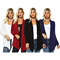 Isaac Liev 4-Pk Womens Open Front Casual Flyaway Cardigan