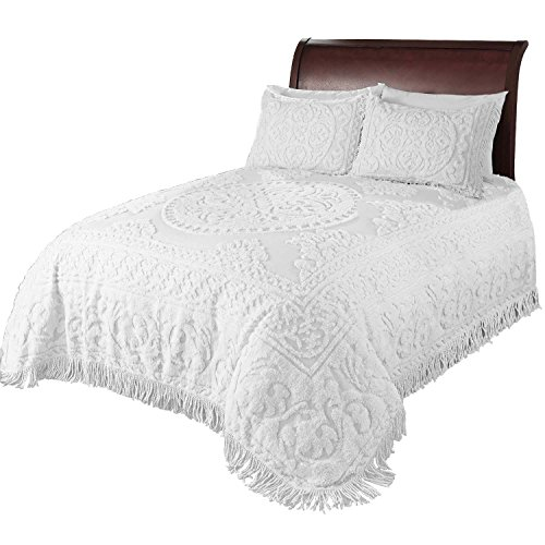Beatrice Home Fashions Medallion Chenille Bedspread, Twin, White