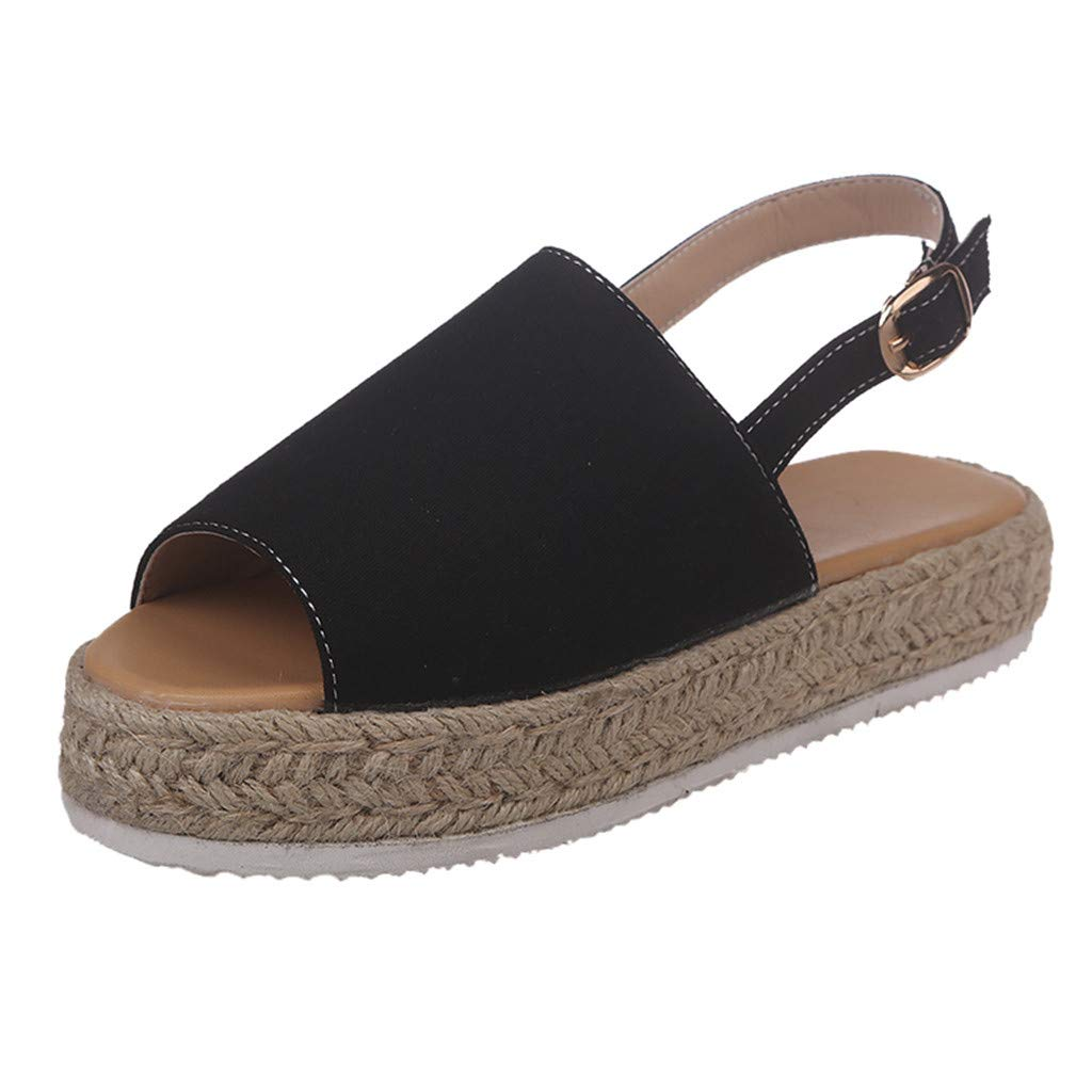 ❤SSYongxia❤ Girl Women's Comfort Casual Espadrille Trim Rubber Sole Flatform Wedge Buckle Ankle Strap Open Toe Sandals Black