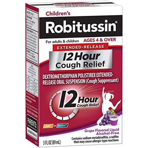 - Children's Robitussin Extended-Release 12 Hour Cough Relief (3 fl. oz, Grape Flavor), Cough Suppressant, Oral Suspension, Alcohol-Free, Age 4+