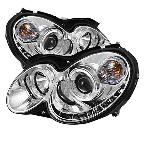 Spyder Auto PRO-YD-MBCLK03-DRL-C Mercedes Benz CLK Chrome DRL Halo LED Projector Headlight