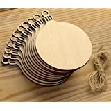 10pcs Wooden Round Bauble Hanging Christmas Tree Blank Decorations Gift Tag Shapes by MIC