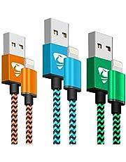 Chargeur iPhone Aione Charge Rapide Câble iPhone 2M [Lot de 3] Nylon Tressé Compatible avec iPhone X 8 8 Plus 7 7 Plus 6 7 Plus 6 6 Plus 6 Plus (Bleu, Orange, Vert)