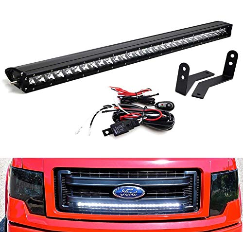 "iJDMTOY Behind Grille Mount 30"" LED Light Bar Kit For 2009-2014 Ford F-150, Includes (1) 150W High Power CREE LED Lightbar, Mesh Grill Mounting Brackets & On/Off Switch Wiring Kit"
