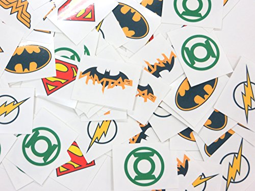 DC Superhero Logos Temporary Tattoos Made in USA (6 Dozen) -