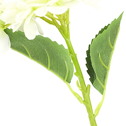 CEWOR 3pcs Artificial Hydrangea Flowers with 2pcs Fake Leaves Fake Silk Flowers for Home Wedding Garden Party Decor, (White) by CEWOR (Image #3)