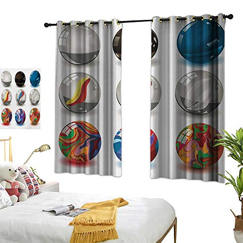 Warm Family Grommet Curtains Pearls,Collection of Different Marbles with Glass and Porcelain Materials Like Bubbles Artwork,Multi 54