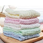 """FIRSTBABY ❤ Cotton Crinkle Muslin Baby Washcloths,Baby Face Hand Towel Sets, Made of 100% Organic Cotton,Extra Soft & Absorbent Towels Perfect for Baby's Sensitive Skin,5 Pack(12""""x12"""")"""