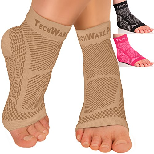 Tech Ware Pro Ankle Brace Compression Sleeve – Relieves Achilles Tendonitis, Joint Ache. Plantar Fasciitis Foot Sock with Arch Support Reduces Swelling & Heel Spur Ache. Injury Recovery for Sports – DiZiSports Store