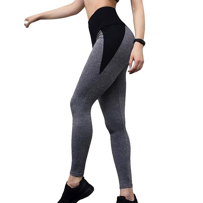 hibote Mujer Skinny Pantalones Largo - Moda Malla Patchwork ...