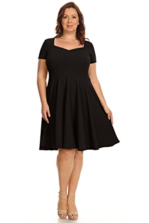 Womens Plus Size Short Sleeve Summer Fit Flare Dresses Made In Usa