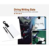 T-best Underwater Writing Slate Board,15.3 x 12.5 x 0.3cm Scuba Diving Write Slate Gear with Swivel Clip and Pencil for Water Sports Diving Swimming