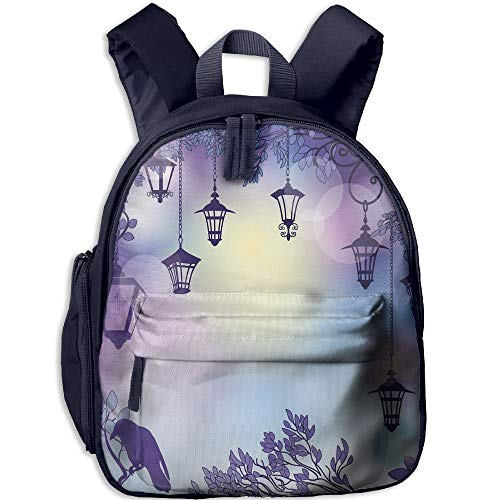 Haixia Kids Boys'&Girls' Bookbag with Pocket Lantern Ancient Street in A Sinister Violet Environment Raven On A Branch Night Decorative Violet -
