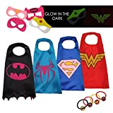 #2: Dropplex 4 Superhero Capes For Kids - Super Hero Toys & Costumes Birthday Party Supplies