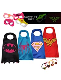 LAEGENDARY Superhero Costumes for Kids - 4 Capes and Masks - Glow Wonder Woman Logo Toys for Boys and Girls - Birthday Gifts and Party Supplies for Kids