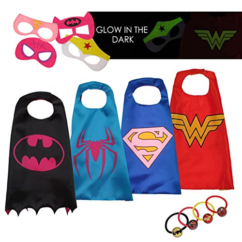 Halloween Toddler Girls Superhero Costumes - 4 Super Hero Capes Masks Kids Toys (Superhero Halloween)