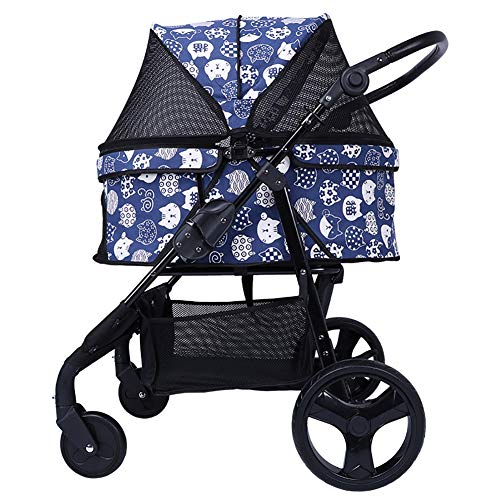ZISITA Pet Travel Stroller Dog Cat Stroller Stroller Jogging 4 Wheels (Blue)