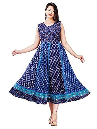 G for Girl Womens' Multicolor Jaipuri Rajasthani Printed Cotton Maxi Frock Long Kurti